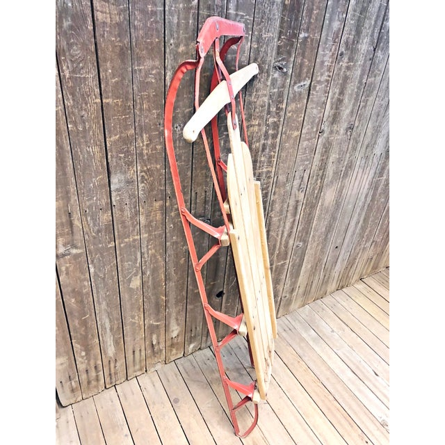 Vintage Weathered Wood & Metal Runner Sled -- Flexible Flyer For Sale - Image 6 of 12