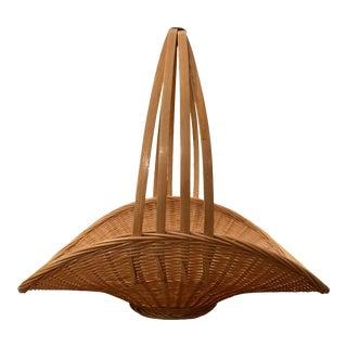 Vintage Decorative Straw Basket For Sale