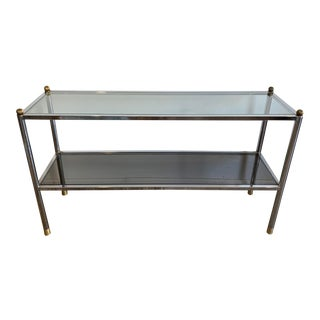 1970s Mid-Century Modern Chrome & Glass Entry Table For Sale