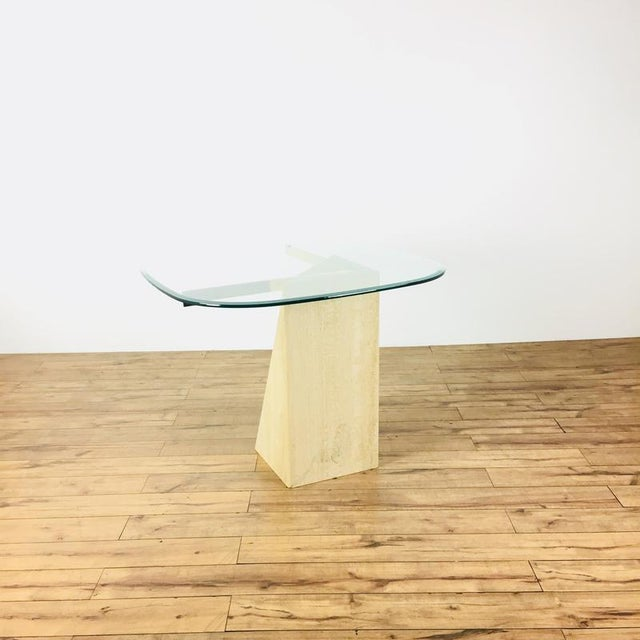 Mid-Century Modern Glass & Marble End Table - Image 3 of 6
