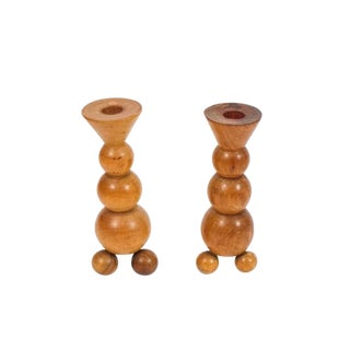 Pair of Art Deco Candlesticks Made from Wood For Sale