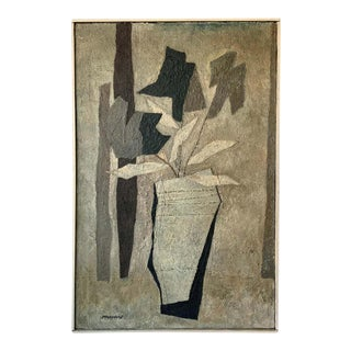 1950s Textured Painting of Flowers in a Vase For Sale