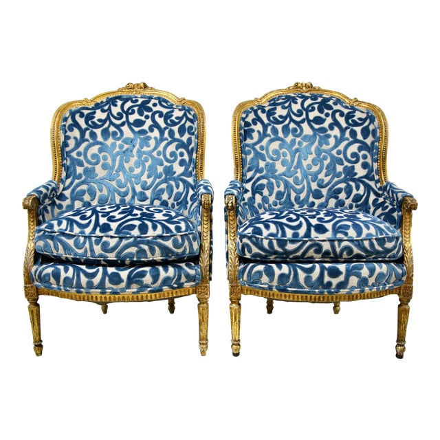 Antique French Giltwood Bergere Chairs, Pair For Sale