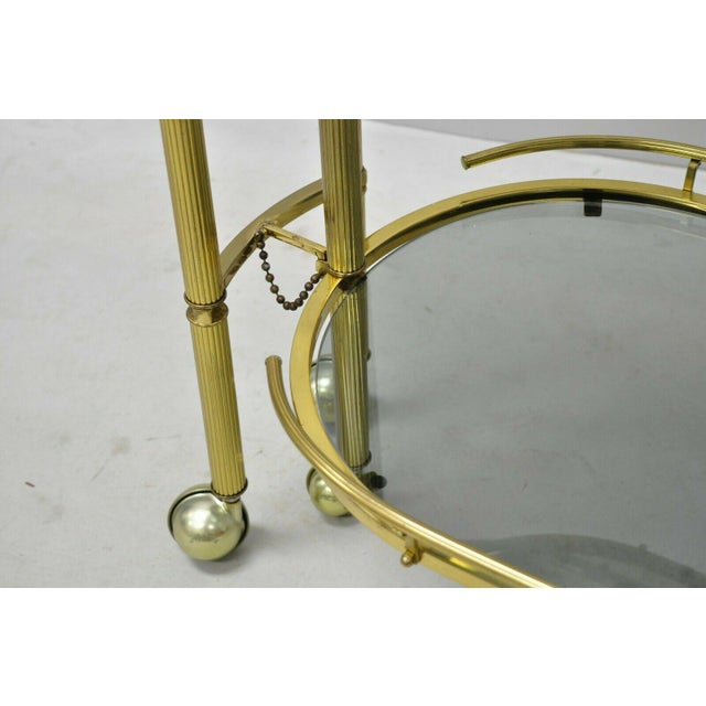 Gold 20th Century Hollywood Regency Swivel Rolling Bar Cart For Sale - Image 8 of 13