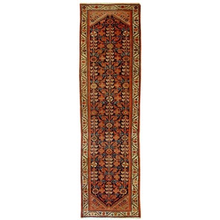 1900s Handmade Antique Persian Malayer Runner 3.1' X 12.3' For Sale