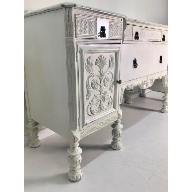 Shabby Chic 1900-1930s White Carved Buffet For Sale - Image 3 of 8