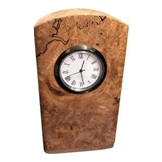 Michael Elkan Studio Burl Wood Clock With Stamp Dispenser For Sale