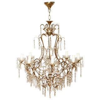 20th Century Italian Louis XVI Style Gilded Bronze and Crystals Chandelier For Sale