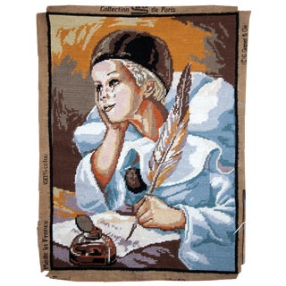 1980s, Handmade Vintage French Tapestry Piero 1.3' X 1.8' For Sale