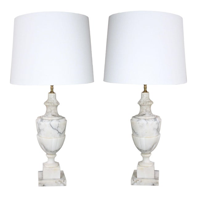 Italian Neoclassical White Alabaster Urn Lamps From Italy With White Linen Shades - Pair For Sale