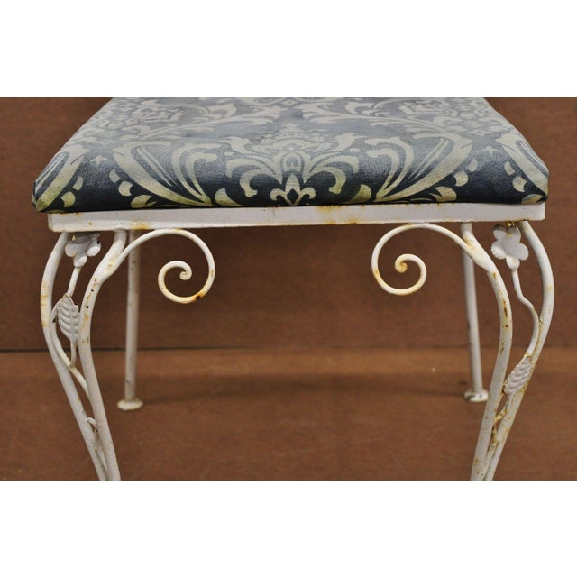 Vintage French Art Nouveau Wrought Iron Floral Dining Chairs - Set of 4 For Sale - Image 4 of 13