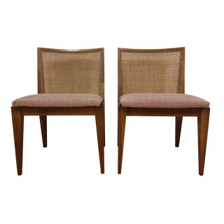 Edward Wormley Cane Back Chairs - A Pair