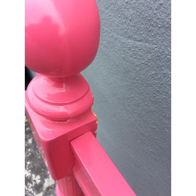 20th Century Hollywood Regency Hot Pink Lacquered Twin Headboard With Silver Leaf For Sale - Image 10 of 13