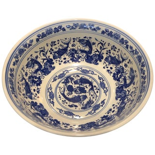 Chinese Large Blue and White Punch Bowl For Sale