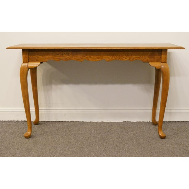 "Kincaid Furniture French Country Solid Oak 52"" Sofa Accent Table For Sale - Image 4 of 9"