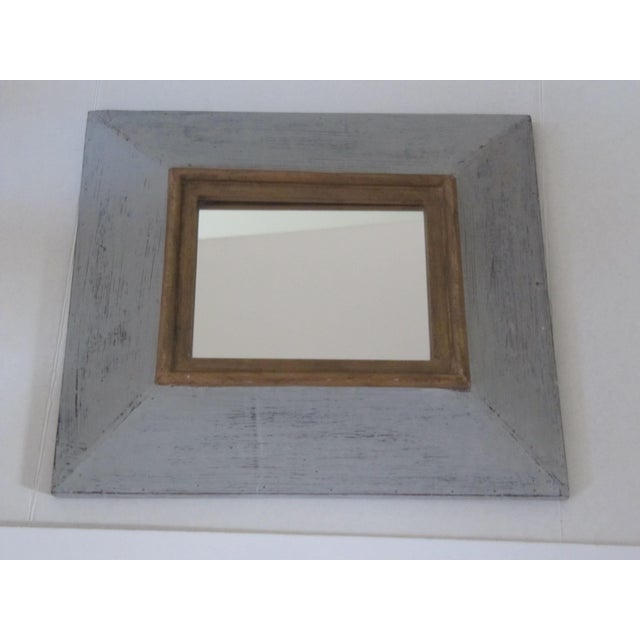 Distressed Grey & Gold Wall Mirror For Sale - Image 5 of 7