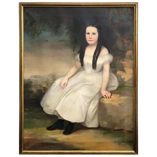 1830s Portrait of Young Woman Oil Painting on Canvas by Robert Street For Sale