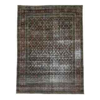 Distressed Antique Yazd Persian Area Rug With Modern Industrial Luxe Style, 10'00 X 13'05 For Sale