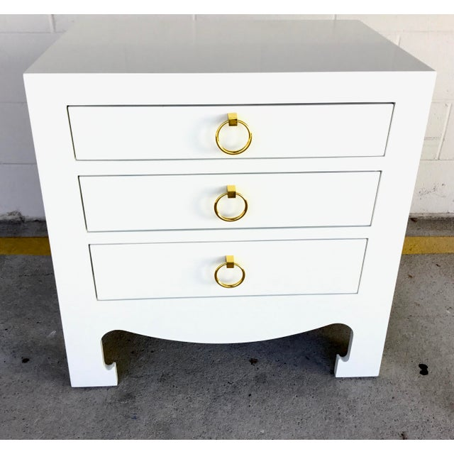 Original retail $1635, chic Bungalow 5 Modern White Lacquer Finished Three Drawer Side Table, curvy accents, brass...
