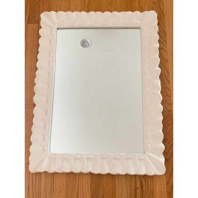 1960s 1960s Vintage White Trompe l'Oiel Plaster Framed Mirror For Sale - Image 5 of 9