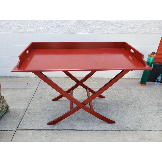 Oscar De La Renta Boho Chic Red Bar Table For Sale - Image 4 of 4