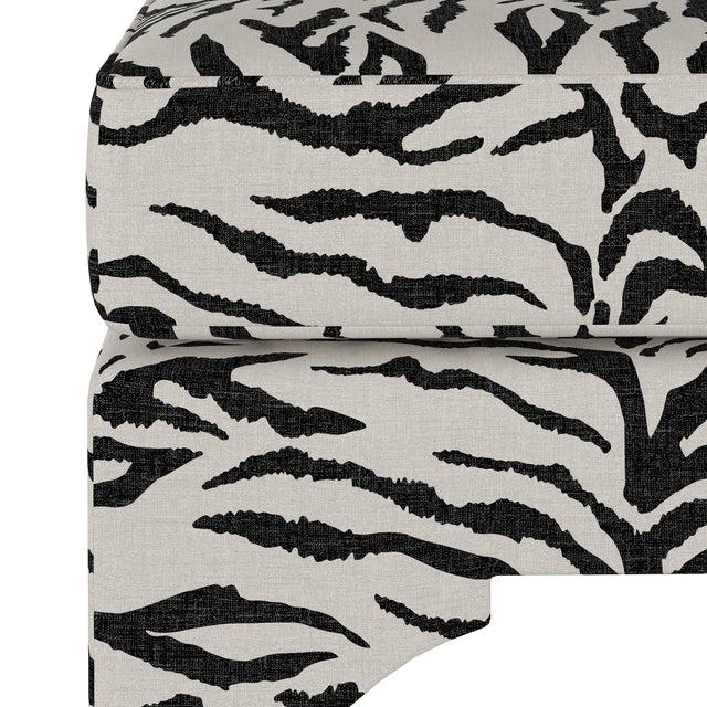 Transitional Ottoman, Linen Zebra Cream Black For Sale - Image 3 of 6