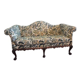 Crewel-Work Green and Yellow Camel Back Upholstered Settee From Century Furniture For Sale