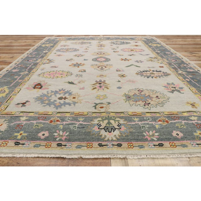Textile Contemporary Oushak Transitional Area Rug - 9′ × 12′7″ For Sale - Image 7 of 10