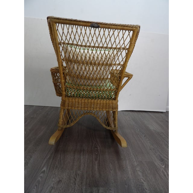 Late 20th Century Vintage Henri Link Wicker Rocking Chair With Magazine Rack For Sale - Image 5 of 7