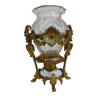 French Cut Glass Baccarat Style Vase With Heavy Dore Bronze Mount of Satyrs