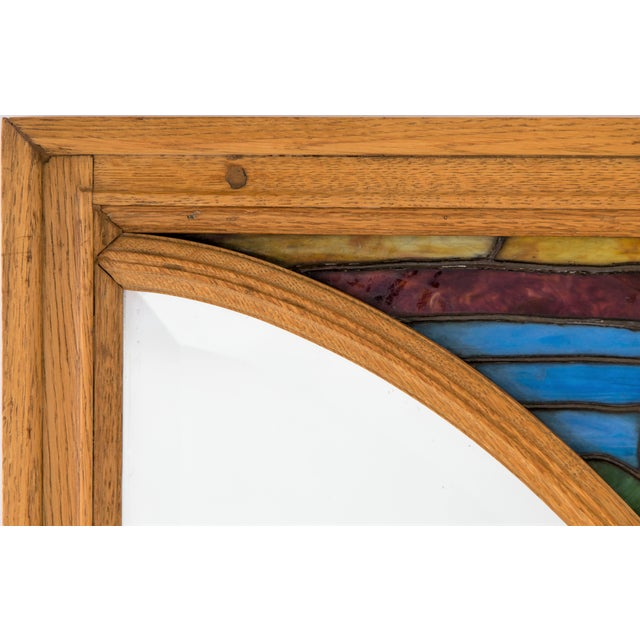 Large Oak Mirror W/ Stained Glass Ermine For Sale - Image 4 of 8
