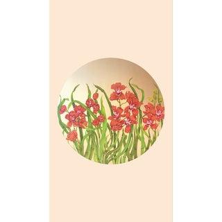 Tondi Fiori Collection Cymbidium Gold Circular Shaped Wallcovering On Gardenia For Sale