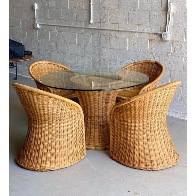 1960s Trompe L' Oeil Wicker Rattan Dining Set – 5 Pieces For Sale - Image 11 of 11