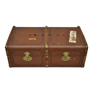 Antique Wood Band and Canvas Suitcase Steamer Trunk P. Gillhausen Zurich For Sale