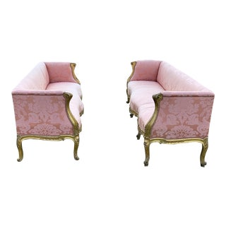 Mid 18th Century Antique French Louis XV Giltwood Canapés in Rose Silk- a Pair For Sale