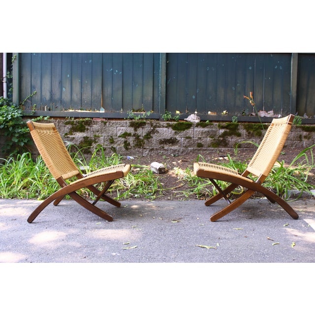 Hans Wegner Style Rope Chairs & Stools - A Pair For Sale - Image 5 of 11