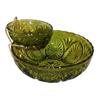 Anchor Hocking Avocado Green Star Cameo Glass Chip & Dip Bowls Set For Sale