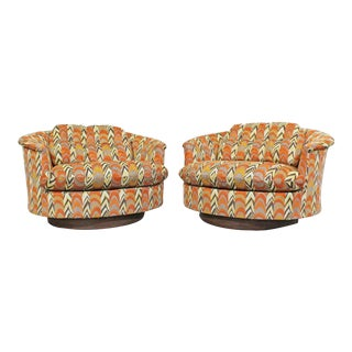 Pair of Mid-Century Danish Modern Groovy Round Swivel Club Chairs by Selig For Sale