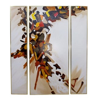 """Mid-Century Modern Abstract """"Autumn Colors"""" Triptych 3-Pc. Painting Signed Simon For Sale"""