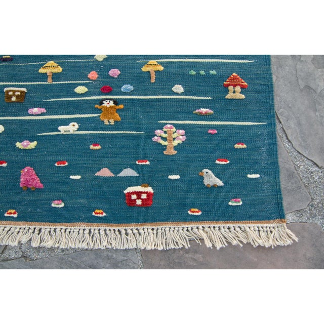 "Children's Anatolian Handmade Kids Kilims Rug - 4'9"" x 2'11"" For Sale - Image 3 of 11"