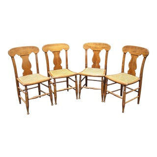 French Country Oak Cane Dining Room Chairs - Set of 4