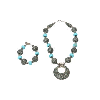 Turquoise and Silver Necklace and Bracelet Set For Sale