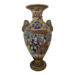 Antique 1920s Satsuma Moriage Earthenware Vase For Sale