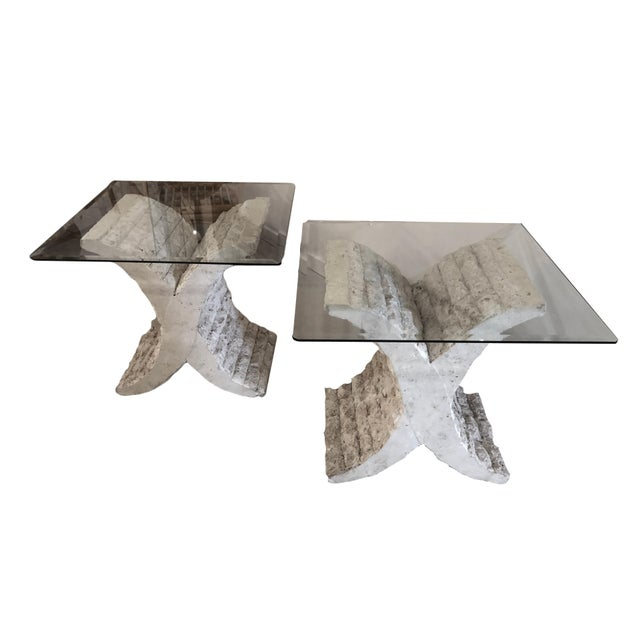Coquina & Stone Glass Top Tables For Sale - Image 9 of 9