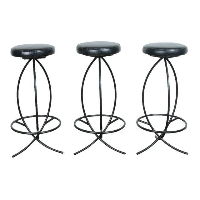 Wrought Iron Leather Seat Bar Stools - Set of 3 - Image 1 of 11