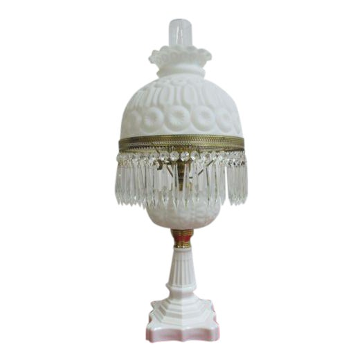 Antique Art Deco Milk Glass Hurricane Table Lamp - Image 1 of 7