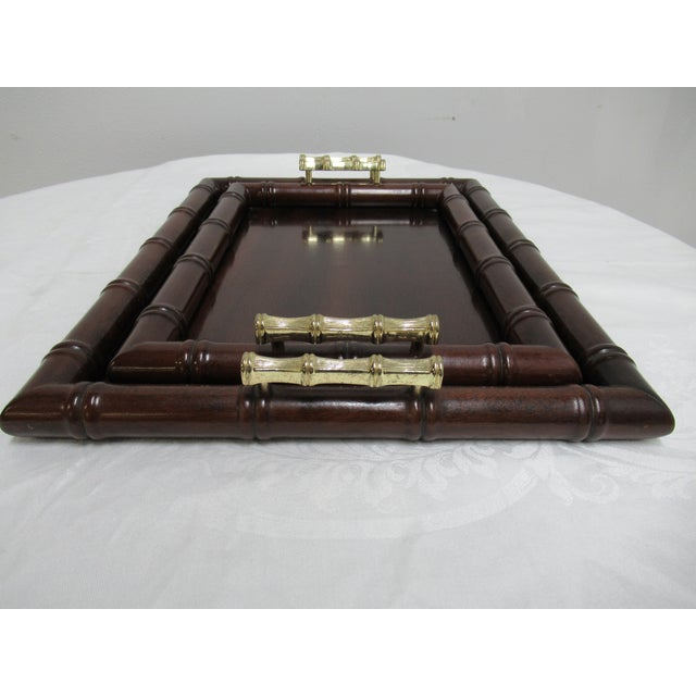 1990s Vintage Bombay Company Faux Bamboo Stacking Trays - A Pair For Sale In Philadelphia - Image 6 of 12