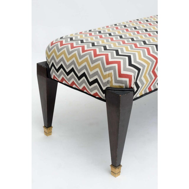 French Neoclassic Style Ebonized and Brass Bench, Maison Jansen For Sale In Miami - Image 6 of 9
