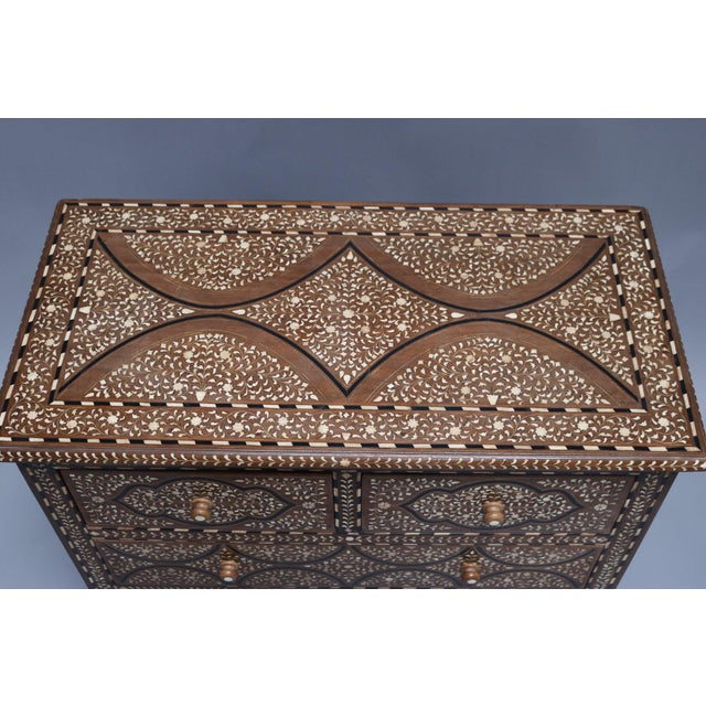 Teak Wood and Bone Inlay Chest of Drawers For Sale In Los Angeles - Image 6 of 7
