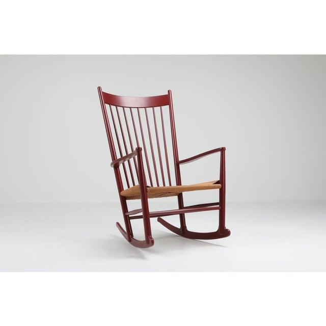 Hans Wegner Hans Wegner J16 Rocking Chair in Burgundy For Sale - Image 4 of 9